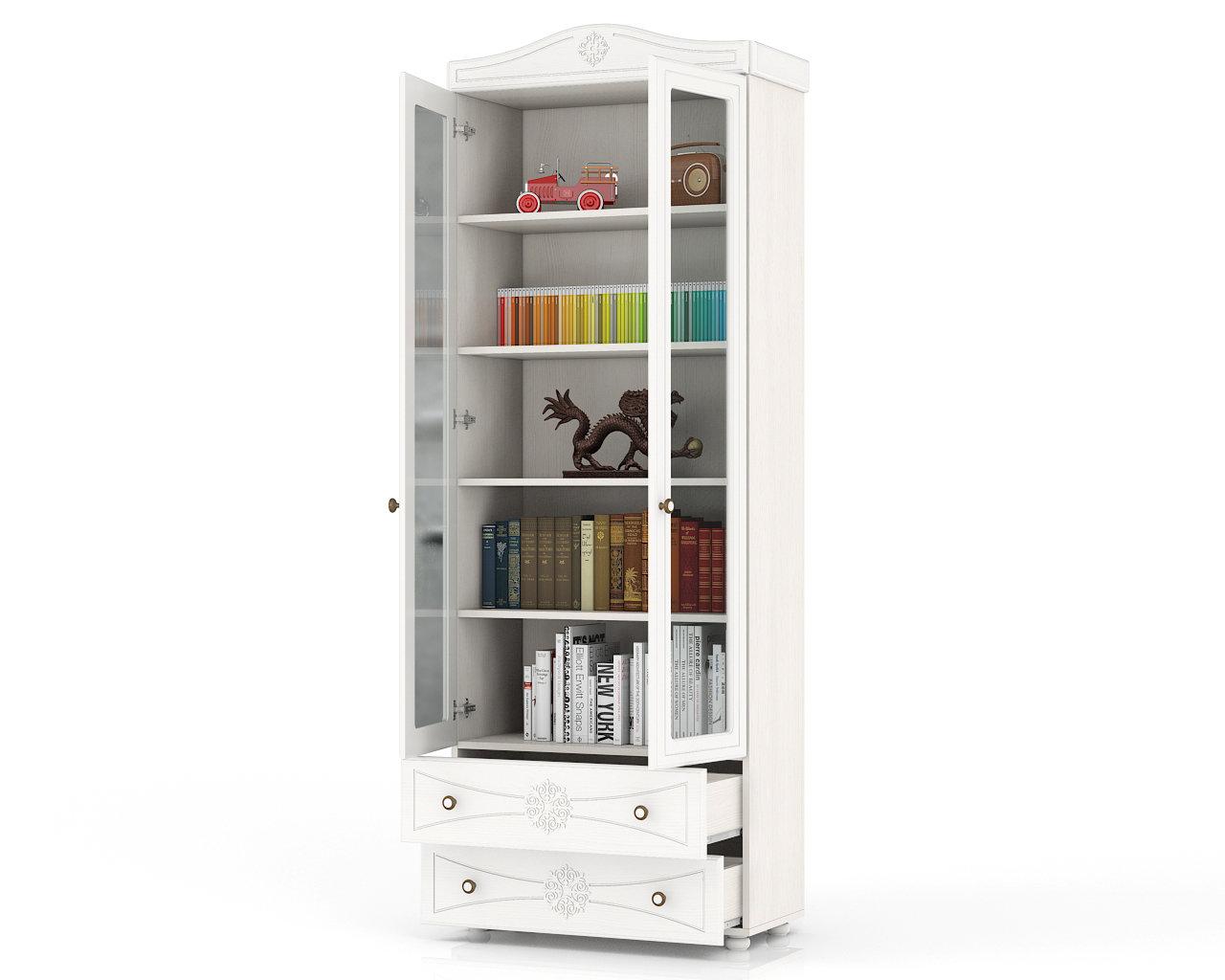 Купить шкаф книжный со стеклянными фасадами и 2 ящиками шк-3.