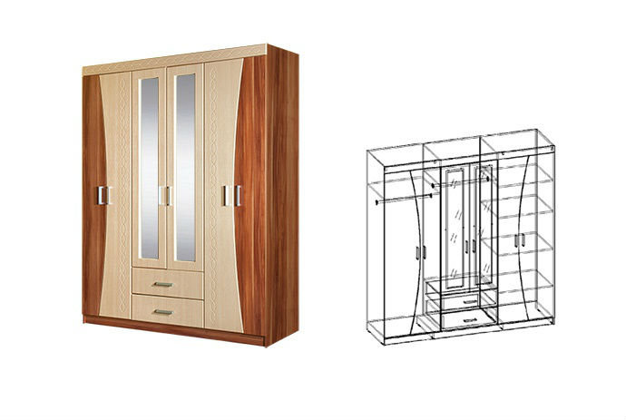 Купить спальня догма шкаф 6-ти створчатый малый (слива валли.
